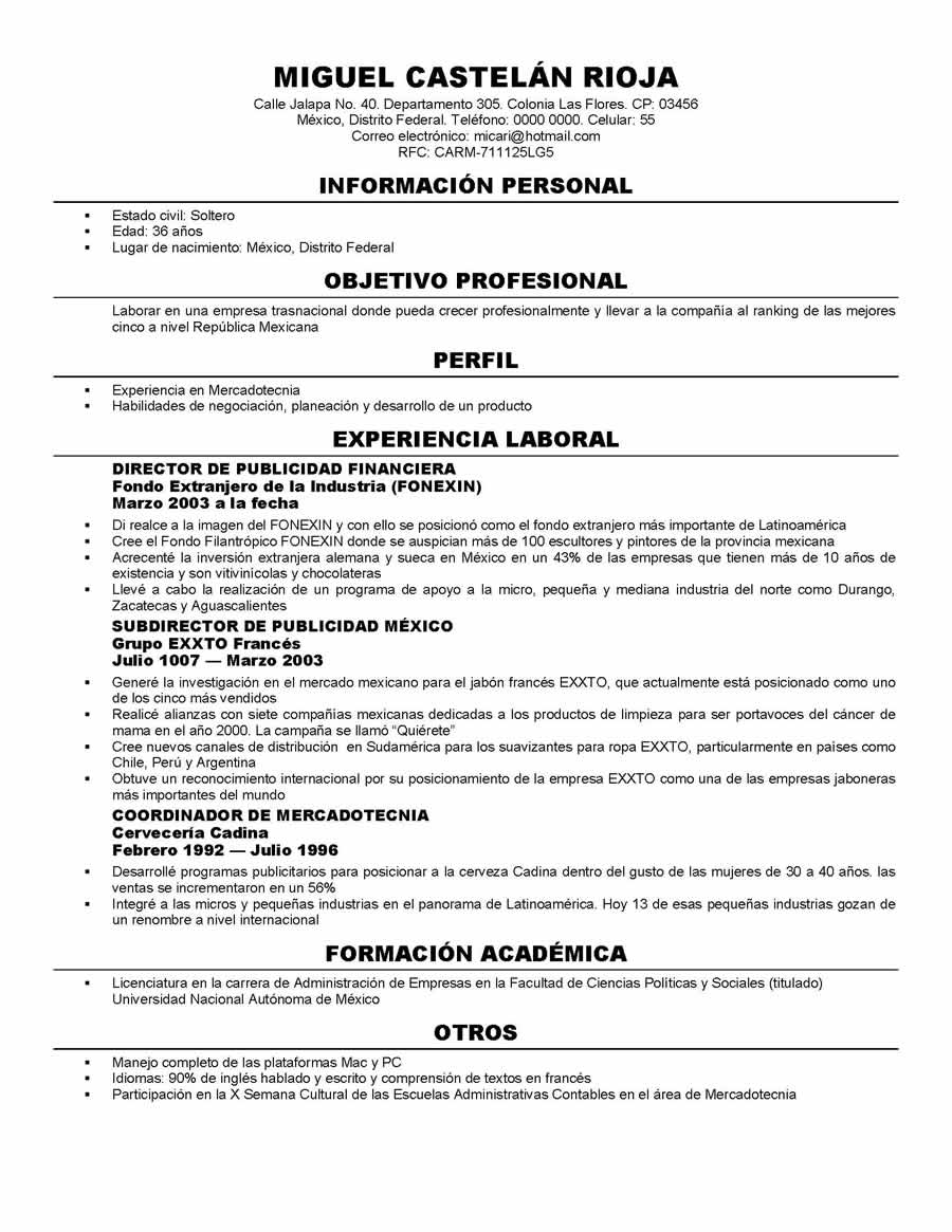 formatos de curriculum en ingles formatos de curriculum en ingles